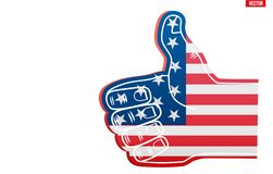 Sports Fan Foam Finger Like with USA Flag. Fan Foam Finger Like with USA Flag. Concept of sport or elections symbol. Vector Illustration Isolated on white royalty free illustration
