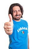 Sports fan from Italy showing thumb up Royalty Free Stock Images