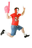Sports Fan Jumps For Joy Stock Photos