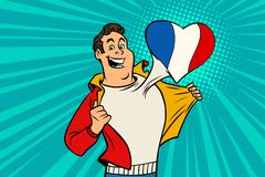 Sports fan loves France. Heart with flag of the country. Comic cartoon style pop art illustration vector retro Stock Photos