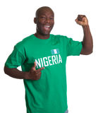 Sports fan from Nigeria is happy Stock Photo
