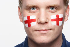 Sports Fan With St Georges Flag Painted Stock Image