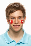 Sports Fan With Swiss Flag Painted On F Royalty Free Stock Images