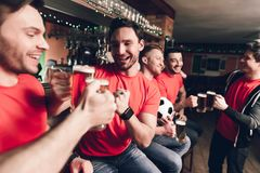 Sports fans celebrating and cheering drinking beer at sports bar. They are supporting red team stock photo
