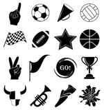 Sports fans icons set Stock Photos