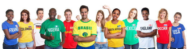 Sports fans from 12 nations Royalty Free Stock Photography