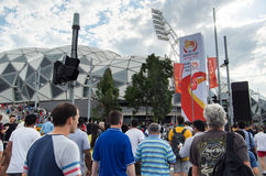 Sports fans outside Melbourne Rectangular Stadium. Sports fans arriving outside the Melbourne Rectangular Stadium for the AFC Asian Cup 2015 football match stock images