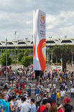 Sports fans outside Melbourne Rectangular Stadium Stock Image