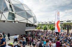 Sports fans outside Melbourne Rectangular Stadium Stock Image