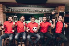 Sports fans sitting in line celebrating and cheering drinking beer at sports bar. They are supporting red team royalty free stock photos
