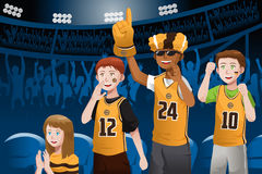 Sports fans in a stadium. A vector illustration of basketball fans cheering inside the stadium Stock Photography