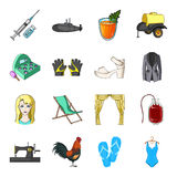 Sports, fashion, clothing and other web icon in cartoon style.Hanger, travel, beauty icons in set collection. Royalty Free Stock Images