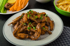 Sports feast - chicken wings, vegetable, french fries, pizza Royalty Free Stock Photos