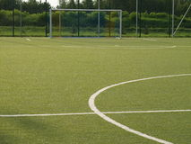 Sports field. Goal on the green sports field stock photography
