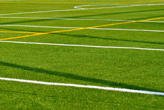 Sports Field. Lines on a turf sports field Royalty Free Stock Photos