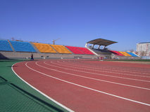 Sports field. Stadium tracks in a clear day Stock Photo