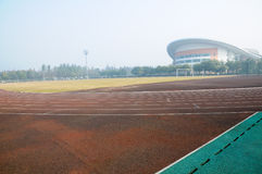 Sports field in morning Stock Image