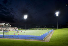 Sports field. At night with lights stock photo