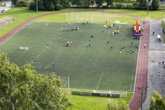 Sports field. Sports competitions on the sports field stock images