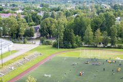 Sports field. Sports competitions on a sports field in a green city royalty free stock photos