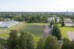 Sports field. Sports competitions on the sports field which is located in a green city stock images