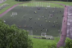 Sports field. In summer and players on the royalty free stock photography