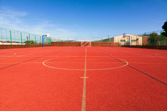 Sports field with synthetic turf and different markings, used in sports Stock Photography