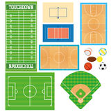 Sports Fields Set  Isolated On White Background. Different Sports Fields Set  Isolated On White Background Stock Images