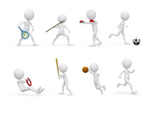 Sports figure character set in different positions Stock Photos
