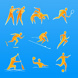 Sports Figures. Simple figures of a sportsmans pictured in line-art style. Sports (from left to right, from top to bottom): Boxing, Wrestling, Tennis, Speed vector illustration
