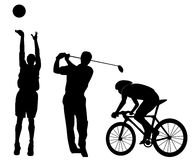 Sports figures silhouette, basketball, golf swing,. Sports figures silhouettes, basketball, golf swing and cycling athletics Royalty Free Stock Images