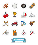 Sports filled line icons vector set 2. Collection of sports filled line vector icons on white background, part 2 stock illustration