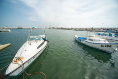 Sports and fishing boats on the new pier Sarafovo in Bourgas, Bulgaria Royalty Free Stock Image