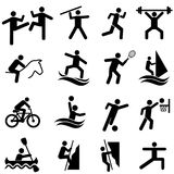 Sports, fitness, activity and exercise icon set Stock Photo