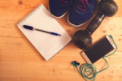 Sports and fitness equipment Stock Photography