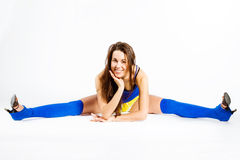Sports fitness girl show perfect split Royalty Free Stock Photography