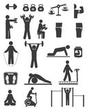 Sports and fitness icons of black color. On white background Royalty Free Stock Images