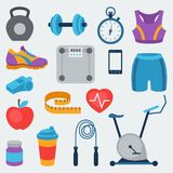 Sports and fitness icons set in flat style Stock Photos