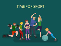 Sports and Fitness People, Healthy family vector illustration. Stock Photography