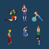 Sports and Fitness People, Healthy family vector illustration. Stock Photo