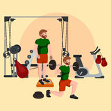 Sports and Fitness People, Workout man in gym vector illustration. Stock Photos