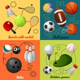 Sports 4 flat icons composition Royalty Free Stock Image