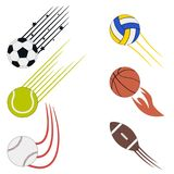 Sports flying balls set with speed motion trails. Graphic design for athletic logo with soccer, basketball, volleyball, baseball. Sports flying balls set with Stock Images