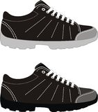 Sports footwear – trekking boots. Vector illustration of the sports shoes - isolated, black, white, grey Royalty Free Stock Images