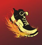Sports footwear. The image of sports footwear on fire during run Stock Photography