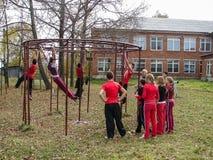 Sports formant des étudiants pour voyager à une réunion dans la région de Kaluga de la Russie image libre de droits