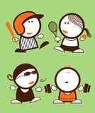 Sports funny peoples. Set of sports funny peoples icons Stock Image