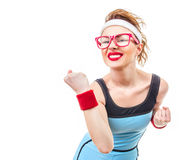 Sports funny woman Royalty Free Stock Photography