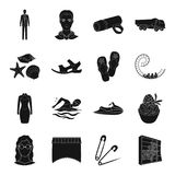 Sports, furniture, travel and other web icon in black style. Sports, furniture, travel and other  icon in black style.wedding, transport, atelier icons in set Royalty Free Stock Photography