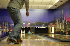 Sports Game Bowling. Player throws a bowling ball's orbit and wants to throw bowling Stock Photo